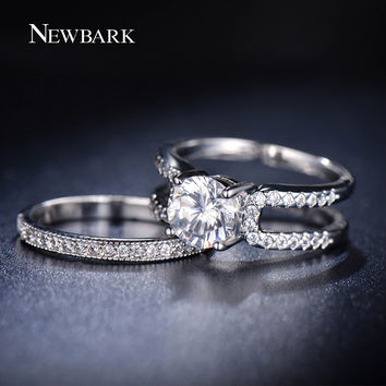 NEWBARK Removable Ring Sets AAA+ CZ Diamond White Gold Plated Wedding Rings Jewelry For Women His And Hers Promise Set