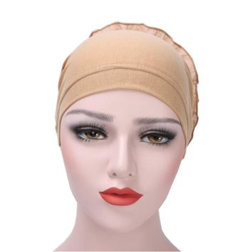 High Quality Muslim Chiffon Hat Women Flower Ruffle Cancer Chemo Hat Beanie 11 Colors Turban Head Wrap Cap balaclava