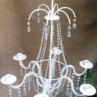 Italian White Crystal Candelabra/Chandelier with Beaded Arms, 6 Candle Holders, Waterfall Top, Made In Italy 1940's
