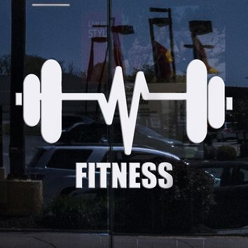 Window Murals and Vinyl Wall Decal Fitness Barbell Bodybuilding Sports Gym Stickers Unique Gift (ig3154w)