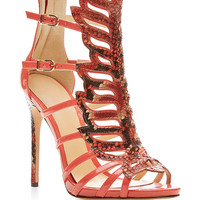 Python and Patent Leather Sandals