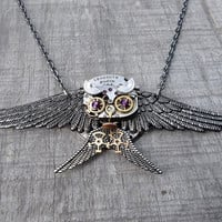"The ""Diving Gray Owl"" Clockpunk Steampunk Sculpture Pendant Necklace, Watch Movement & Gears with Swarovski Crystals on Cable Link Chain"
