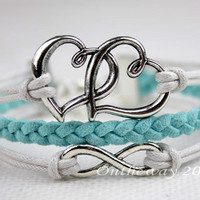 Bracelet -Mint color infinite double love bracelet , bracelet for girlfriend and boyfriend