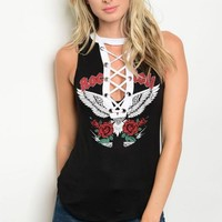 Women Lace Up Graphic Sleeveless Tee Top Blouse Roses Rock N Roll Mock Neck Punk