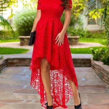 Red Patchwork Lace Off Shoulder High-Low Tutu Homecoming Party Maxi Dress