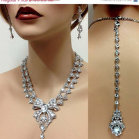 Bridal jewelry set, Wedding jewelry, Vintage inspired necklace earrings, Bridal back drop necklace, crystal bridal statement