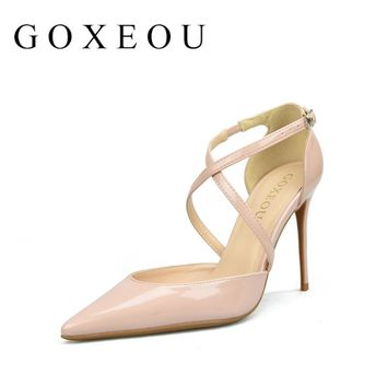 Brand Womens shoes High heels Sexy pointed teo Thin heels Pumps Patent Leather 2017 Party Cross-tied Night-club Custom-made