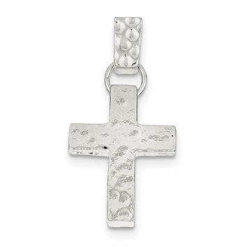 Sterling Silver Hammered Latin Cross Pendant QC4452