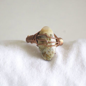 Wire wrapped ring – Jasper stone – Jasper ring – stone ring – Boho ring – hippie ring – earth ring – earth stone - wire ring - copper Ring