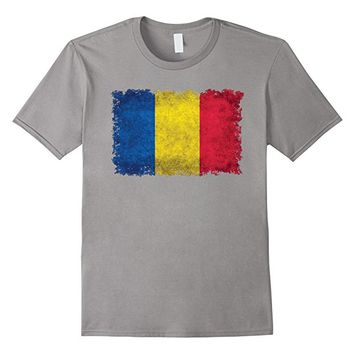 Flag of Romania T-Shirt with grungy textures