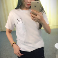 Cat Print Pocket Casual T-Shirt