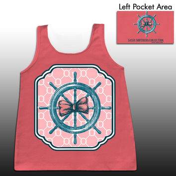Sassy Frass Southern Collection Pirate Ship Wheel Bow Girlie Bright Comfort Colors Tank Top