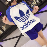 """""""Adidas"""" Fashion Casual Multicolor Clover Letter Short Sleeve Hooded Sweater Set Two-Piece Sportswear"""