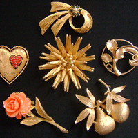 LOT 6 Lovely Rose Flower Leaves Leaf Fruit Pearl Heart Bow Ribbon Starburst Gold Tone and Rhinestones Pins/Brooches CORO JJ Jonette Jewelry