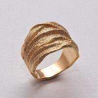 Golden Rag - 14k Gold Ring , Unisex Ring , Wedding Ring , Wedding Band , Mens Ring