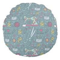 Sewing Notions Vintage Crafts Print Round Pillow
