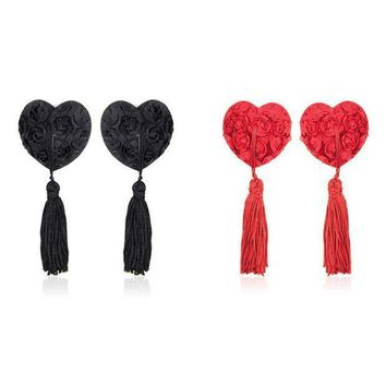 ac PEAPO2Q Sexy Toys Body jewelry ring Women Lingerie lace heart flower Tassel Breast Bra Stickers Cover TAIERS