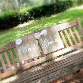 Bride & Groom Chair Signs, Wedding, Rustic, Country, Reception, Outdoor,  Accessory, Decoration MADE TO ORDER ( set of 2 )