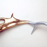 Stunning hand painted antler silver and gold chrome naturally shed Fallow Deer Antler ornament wall hanging deer decoration
