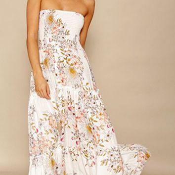 Now And Forever White Floral Strapless Smocked Ruffle Maxi Dress
