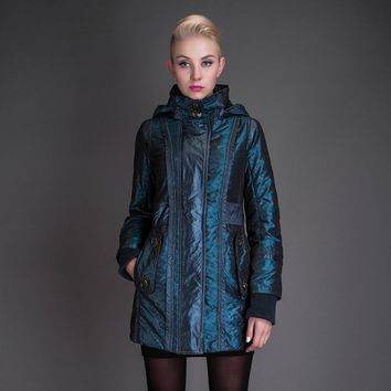 Basic Editions Autumn Fall Metallic Silk Fabric Cotton Coat Jacket with Hood Zipper Side Pocket  - JQM08213