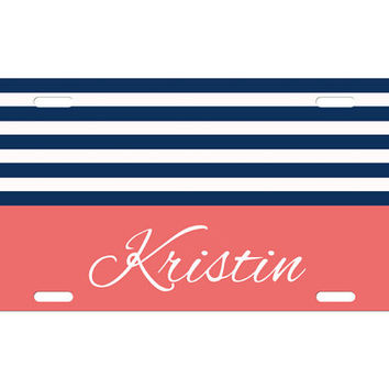 Custom Personalized License Plate Car Tag Preppy Stripe Name Monogram Sorority 16th Birthday Girls Gift Aluminum Front Car Plate LP-1023