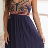 Purplish Blue Spaghetti Strap Ethnic Printed Sundress