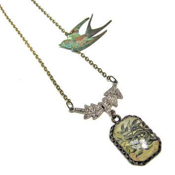 Extra Long Birds Nest Etching and Verdigris Swallow Bird Brass Necklace