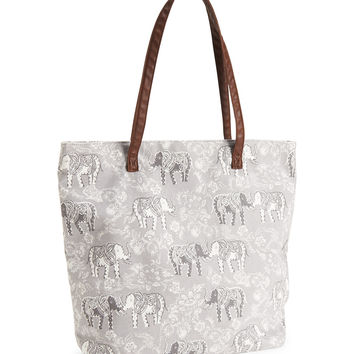 Elephant Floral Tote