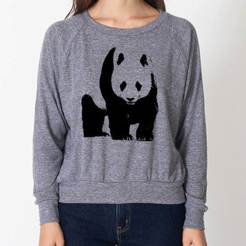 Cute Panda Hipster Cool Sweater Fun Adorable American Apparel Womens Tri Blend Light Weight Raglan Pullover