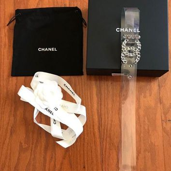 VONEIR6 New 18S Chanel PVC & Silver Tone Metal Transparent Belt size 90