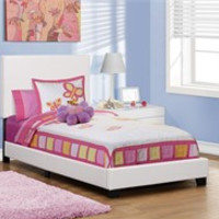 Bed - Twin Size / White Leather-Look Fabric - Monarch Specialty I-5911T