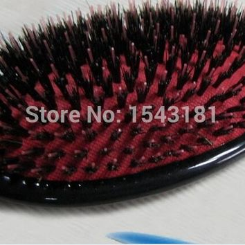 Professional Anti-Static Hair Brush Paddle Brush Comb 1pcs escova de cabelo brosse a cheveux real wild boar bristle brush
