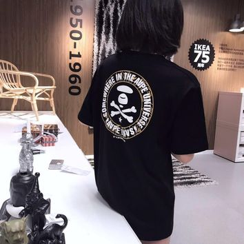 KUYOU 2019 AAPE Back Black Golden Ape Man Camouflage Circle Patterned T-shirt, the same style for men and women