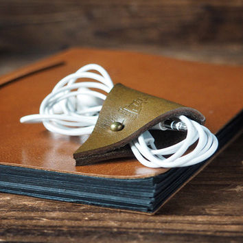 Leather Cord Holder - Earbud Cable Cord Organizer Handmade, Earphone Cord keeper, Headphone USB Winder, Personalized,Minimalist #Olive Green