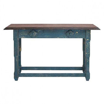 Blue Distressed Wood Console Table