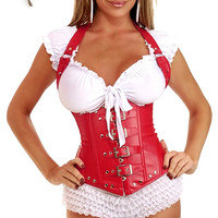 Red Leather Buckle Corset