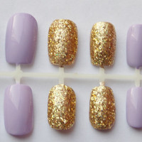 Purple and Gold Glitter Nautical Fake Nails - False, Artificial, Acrylic, Press-On