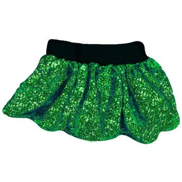 Green Sequin Skirt Black