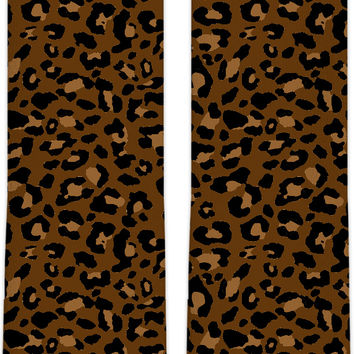 Brown and beige leopard pattern knee high socks design, custom camo pattern