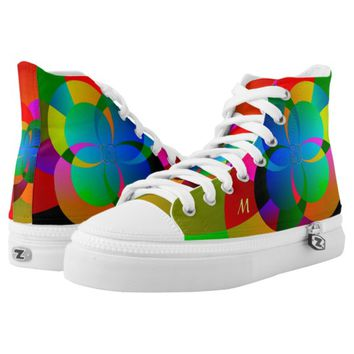 Abstract Cool Cute Fractal Neon Psychedelic High-Top Sneakers
