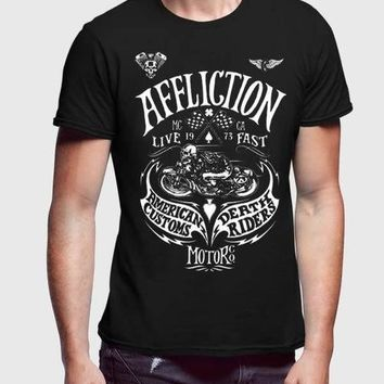 Affliction Agitator Black Half Sleeve Men T-Shirt