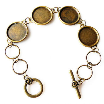 Blank Bracelet 10PCS Antique Bronzed 18mm Round Bezel Cup Cabochon/ Cameo Mountings