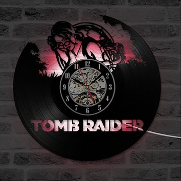 Tomb Raider CD Record Wall Clock Creative Wall Art Decor Hanging Clock Personalized Gift Antique Vinyl Record LED Light Clock
