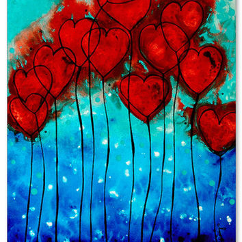 Hearts On Fire Love Romantic Art Print Red And Blue Flower Gift Paintings Abstract Canvas Romance Lovers Wedding Engagement Anniversary