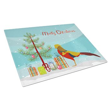 Golden or Chinese Pheasant Christmas Glass Cutting Board Large BB9295LCB