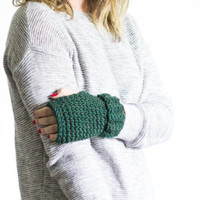 Fingerless Mittens Chunky Knit Wrist Warmers | THE OGDENS | Evergreen