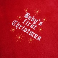 Baby Blanket First Christmas Red White Flannel Handmade Embroidered