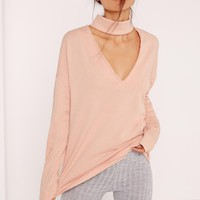 Missguided - Tall Nude Choker Neck Sweatshirt