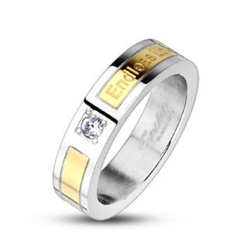 Endless Love Engraved with CZ Gold IP Center Band Ring 316L Stainless Steel